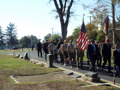 The traditional procession through the cemetery prior to the ceremony was led by the Citrus Heights Police (CHPD) motorcycle team, followed by CHPD Honor Guard, American Legion Post 637, Boy Scout Troop 228, members of the police department, Sons of Union Veterans of the Civil War Rifle Team and members of the community.