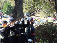 Sons of Union Veterans of the Civil War Rifle Team conclude the day with a traditional black-powder rifle salute honoring all veterans.