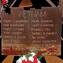 The towering monument was one of the first memorials raised for Vietnam War dead in the USA. Its inscription recalls 15 La Sierra High School alumni who died in the conflict.