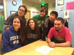 Five teen volunteers taking advantage of a community service opportunity at the Sacramento Children's Museum in Rancho Cordova. (left to right) Alexis Dunbar, Samantha Eckhoff, Lynzie Baca, Joey Perry, Collin Le, and Customer Service Advisor Dustin Perry. The teen volunteers will participate in a 40-hour program over a four month period to give very young children hands-on science and art experience and a chance to exercise their imaginations.