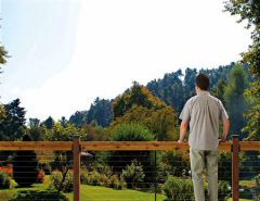 Enjoy a clearer view of your garden with cable railing.