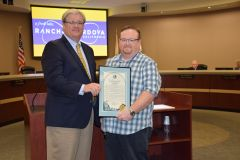 Mayor David Sander presented a proclamation to City Interim Chief Building Official Joe Cuffe (pictured right) at Monday's City Council meeting. Photo courtesy City of Rancho Cordova