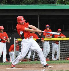Leading Cordova in hitting this season was Logan Appino, shown here during a recent home game, with a .488 batting average. 