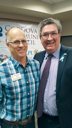 Assemblyman Ken Cooley, right, stands with Rancho Cordova State Farm agent Doug Brewer at the Rancho Cordova May luncheon.