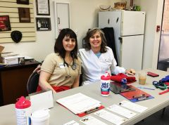 Dr. Melissa Noakes (left) shown here with technician Amanda Yarrington from the Citrus Heights Mercy Pet Hospital provided vaccines, booster shots, micro chipping and other pet supplies to help homeless veterans keep their best fur friends healthy.
