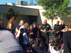 During an outdoor assembly on May 18th, eleven Cordova Meadows Elementary School Kindergarteners received certificates of recognition, and three lucky students were awarded new bikes that they bid on using Cub Cash that they earned. 