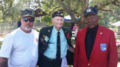 Morgan Wade Janes (left) of Wild Wade's BBQ and World War II veteran and American Legion member George Marks (center), with honored picnic guest and original Tuskegee Airman Judge Albert (right) at the fifth Citrus Heights Annual Veteran's Appreciation Picnic on August 23, 2014.  --Photo by Elis Spleiss