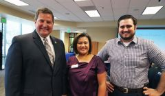 Sacramento County Sheriff Scott Jones (left), with Jane Toff of Toastmasters International and Kyle Macdonald, Jones's campaign manager in his bid for Congress.
