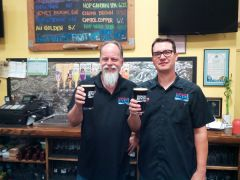 Owner Dave Mathis and Head Brewer Andy Armstrong Celebrate.