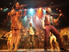"""The cast of """"Broken Strings"""" does justice to recent contemporary hits aboard the Reflection.  --Photo by David Dickstein"""
