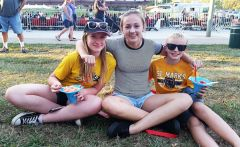 Sister and brother, Hannah R. (left) and Jacob R.(right) with friend Hannah W. (center) pause for some shaved ice at the 3rd annual Hot August Bites on August 9. Brother and sister Hannah and Jacob attend St. Marks Lutheran School. Hannah W. graduated from St. Marks earlier in 2016.