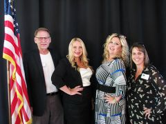 Doug Proctor, Chamber President, candidate Stephanie Mearse, new Honorary Mayor Rachel Griffith, and Kimberly Pitillo, Chamber Director share their big smiles over the fantastic support for local causes at the Fair Oaks Chamber annual event at North Ridge County Club.