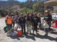 Volunteers from Grant High School's Latino Outdoors helping at Protect American River Canyons' cleanup along the American River in Auburn, CA. 