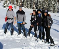 Students Cordale House, Greg Pallas, Robert Gregory, Edgar Juarez, Eveni Zamora on a snowshoe trip at Castle Peak.