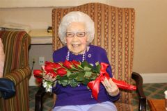 """Angela received many """"congratulations"""" from friends, as it isn't every day someone turns 100 years old."""