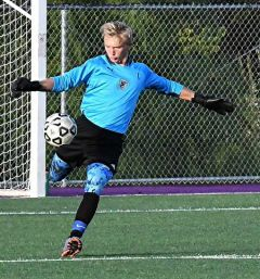 Goalkeeper Jackson LaCasse recorded his 4th shutout.  --Photo by Rose Shoen