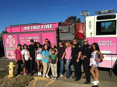 After meeting with the survivors, the Pink Engine and the Kings' crew passed out pink Cancer Awareness items at Arden Fair Mall. Join Metro Fire's Pink Engine at tonight's Kings Game, the first home game in the new Golden 1 Center.
