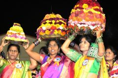 Bathukamma is a beautiful flower stack, arranged with different unique seasonal flowers most of them with medicinal value, in seven concentric layers in the shape of potter's clay like a cone.  --Photo courtesy of Sacramento Telangana Association