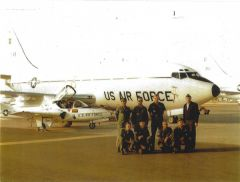 Historic Picture of Mather Air Force Base, taken around 1974 to 1976 of the T 43 and T 37 Jet Navigator trainer aircraft with Captain Jerald Drobesh standing on the right, along with aircraft ground maintenance support airmen.