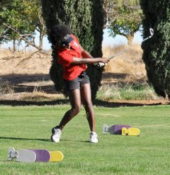 Cordova girls golfer Angela Jones, seen here competing during an SVC home match at Mather Golf Course two weeks ago, is one of three local linkers advancing to the Sac-Joaquin Section Division IV Tournament after a strong finish at the conference tourney on Monday.  --Photo by Rick Sloan