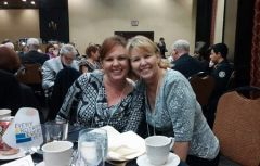 Laurie Moses (left) and Diane Ebbitt at 2015 Rotary Crab Feed.  --Photo by Elise Spleiss