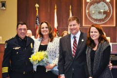 New Citrus Heights Police Chief Ron Lawrence (left) with wife Jennifer, and former police chief Christopher Boyd, now Citrus Heights city manager with wife, Marci. 