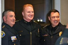 Police chiefs from two dozen jurisdictions throughout California attended the swearing-in. Left to right: Rocklin police chief, Chad Butler, Galt police chief Tod Sokman, New Citrus Heights police chief, Ron Lawrence.  --Photo by Janet Shaefer