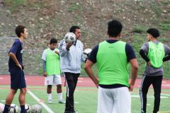 Cordova boys soccer head coach Eric McCahon oversees Monday's morning practice at Lancer Stadium. The Lancers open the season with a scrimmage at Burbank next Monday, then open the season at home against River City.  --Photo by Mike Bush