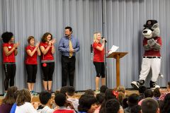 California Family Fitness Trainers, Rancho Cordova Elementary School Principal Larry Mahoney, KCRA 3's Tamara Berg and River Cat's mascot Dinger award students for their performance in the Body Fit Kids program. 
