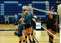 Annie Stapleton (4) had 9 kills in the Falcon victory.  The Falcons closed out their regular season with a home-court victory over Diablo Valley on Wednesday night, 25-19, 25-23, 21-25, and 25-19.