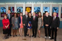 10th class of California Hall of Fame Inductees. From left to right: Isabel Allende, Harrison Ford, Alicia Gwynn (representing Tony Gwynn), Ray Smith (representing Corita Kent), Governor Brown, First Lady Anne Gust Brown, William J. Perry, Maria Shriver, Russ Solomon and George Takei.