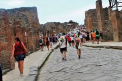 Visitors flock to the ruins of Pompeii, destroyed by the 79 AD eruption of Mt. Vesuvius. 