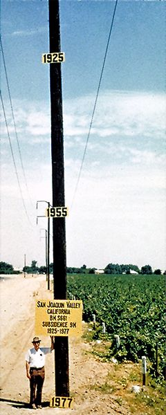 Approximate location of maximum measured subsidence (9m) in the San Joaquin Valley, Ca. (1925-1977) attributed to aquifer-system compaction caused by groundwater abstraction. Signs on pole are positioned at approximate former elevations of land surface. Pictured is Dr. J.F. Poland. 