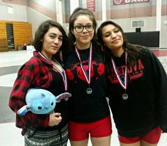 (L-R) Sophomore Makayla Bailey, Junior Alexis Cuevas and Freshmen Atziry Chavez.  --Photo courtesy of the Cordova High Athletic Department