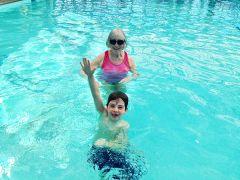 Sally Johnson enjoying the water with her grandson Zachary.