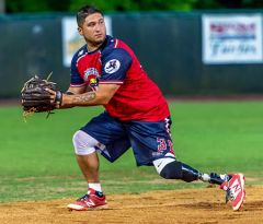 Saul Bosquez fields a ground ball. 