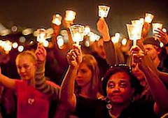 A moving part of every Relay for Life is light, whether in the form of luminarias or candles. The light is used as a reminder that no one is alone in the dark with this disease. Pictured a single personal note of support for those fighting the good fight to eradicate cancer.