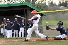 Cordova batter Zach Guererro makes contact with the ball in last week's SVC home game against Rosemont.  --Photo by Rick Sloan