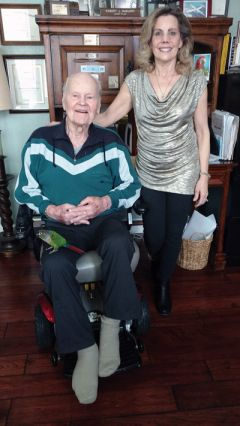 Gail Spelis and her father, retired Air Force Lt. Col. Robert J. McMurry, have co-authored a memoir chronicling his life as a WWII pilot.  --Photo by Jacqueline Fox