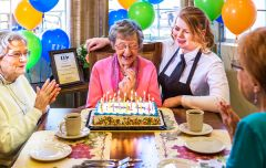 Active centenarian Clea Meyers was surrounded by friends, families and well-wishers as she celebrated the amazing accomplishment of reaching her 100th birthday.  --Photo courtesy of Eskaton Village, Carmichael.