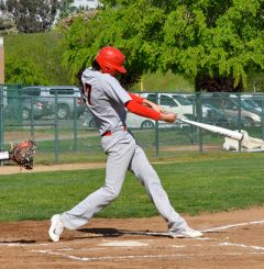 Spencer Gudgel takes a cut for Cordova baseball in an SVC road game at Rosemont last week.  --Photo by Rick Sloan