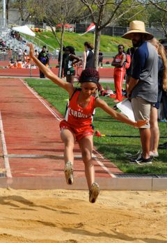 Cordova's Blessings Norwood, shown here competing in the triple jump at the Lancer Invite last month, won two events in an SVC meet against Liberty Ranch last week. 