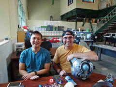 Peter Chang helps Ian Milward at Hacker Lab Sierra College.  --Photo courtesy of Karen Fraser-Middleton