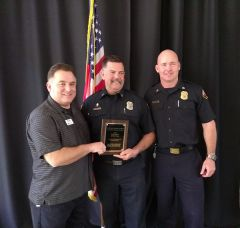 (L to R) Mark Creffield, executive director of the Citrus Heights Chamber of Commerce, Captain Shawn Condit and Deputy Chief Eric Bridge