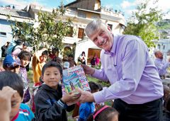 Dr. Franklin Graham participates in Operation Christmas Child. 