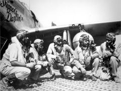 RAMITELLI, Italy, WWII (From left) Lt. Dempsey W. Morgan, Lt. Carrol S. Woods, Lt. Robert H. Nelson Jr., Capt. Andrew D. Turner and Lt. Clarence D. Lester were pilots with the 332nd Fighter Group. The Airmen with the elite, all-black fighter group were better known as Tuskegee Airmen.  -- Photo courtesy U.S. Air Force