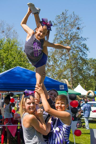 High-flying girls show off their aerial maneuvers with skill, balance and an amazing amount of flexibility. 