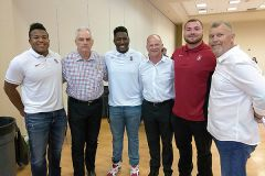 Leading the charge for Playmakers at the event were Harrison Phillips Stanford DT, former Denver Broncos quarterback Craig Penrose, Jovan Swann Stanford DT, Jody Sears, Head Football Coach, Sac State, Michael Williams Stanford DT and Greg Roeszler, Playmakers. 