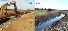 Cordova Creek Naturalization Project during construction and after.