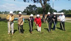 County Supervisor Susan Peters (center), who once lived adjacent to Eastern Oak Park, helped break ground on May 6.  With her are MORPD Advisory Board members Barney Donnelly, Jerry Ontiveros, Nghia Nguyen, Rick Morin and Jana Saastad along with District Administrator Daniel Barton.  -- Photo courtesy of MORPD.